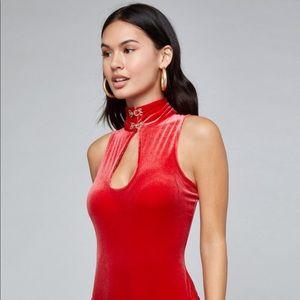 NWT: 🐍 Bebe snake and red velvet thong bodysuit